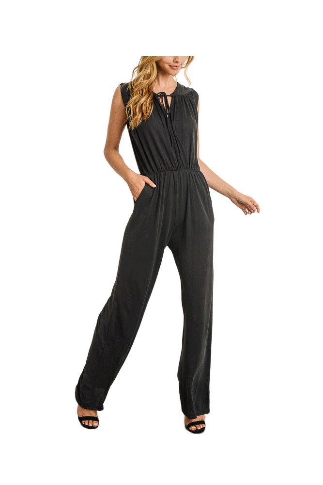 Riley Overlapping Bodice Jumpsuit (Black)