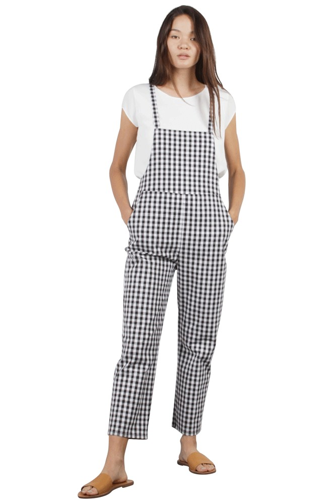 The Blake Cropped Overalls (Black Checkers)