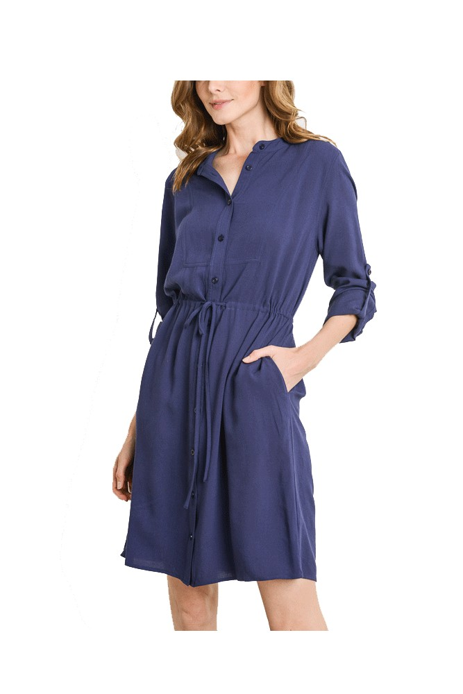 Reese Woven Shirt Dress (Navy)