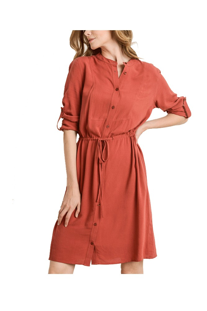 Reese Woven Shirt Dress (Rust)