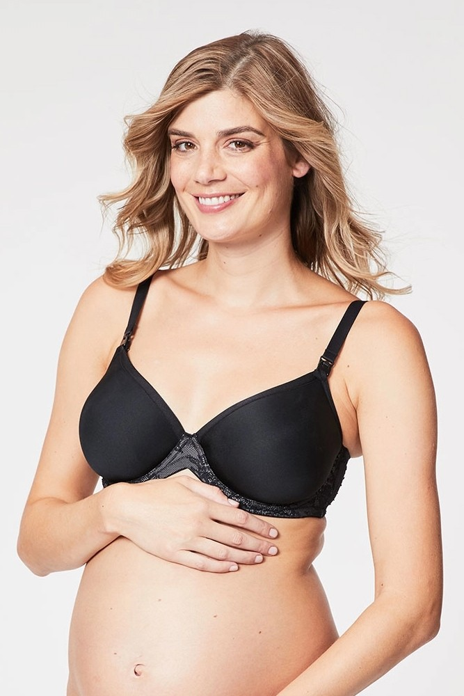 Cake Lingerie Waffles 3D Spacer Contour Nursing Bra with Flexible Wire (Black)