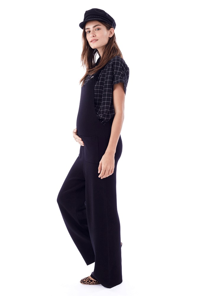 Candace - Knitted Cropped Jumpsuit (Black)