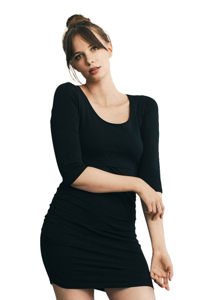 Riley Flatter Me Organic Cotton Maternity & Nursing Dress with 3/4 Sleeves (Black)
