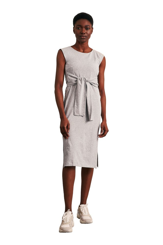 Haley Sleeveless Organic Maternity & Nursing Dress (Grey Melange)