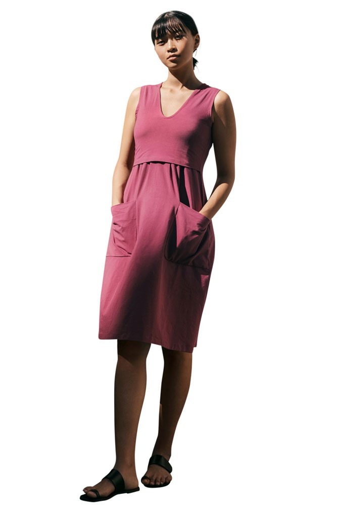 The Depot Organic Maternity & Nursing Dress (Soft Cherry)
