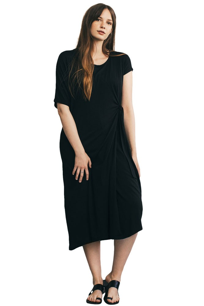 The Maverick Asymmetric Sleeve Nursing Dress (Black)