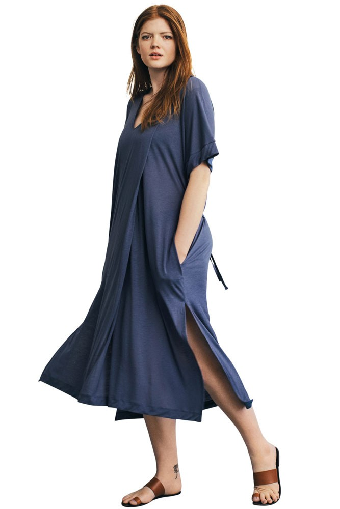 Scirocco Relaxed Maternity & Nursing Dress (Vintage Indigo)