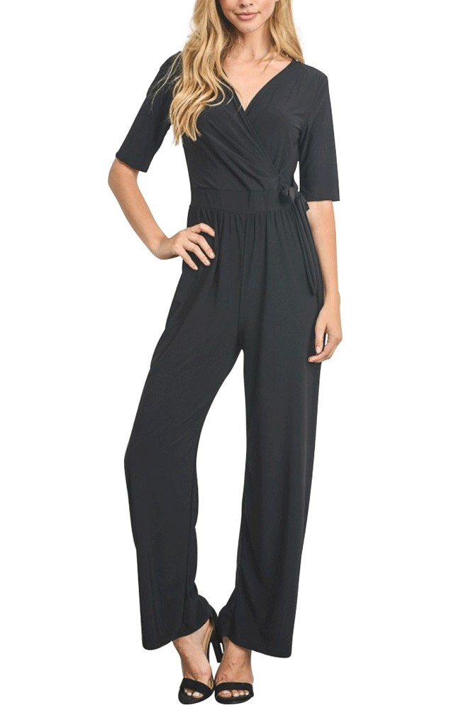 Sasha Half Sleeve Wrap Front Jumpsuit (Black)