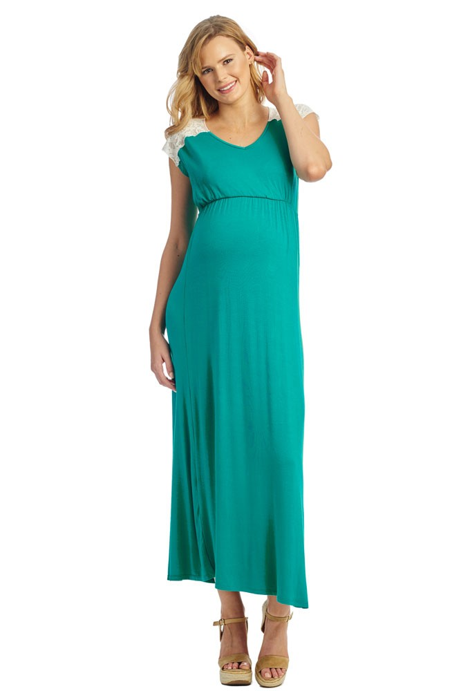 Margaret Maternity & Nursing Dress (Portofino Green)