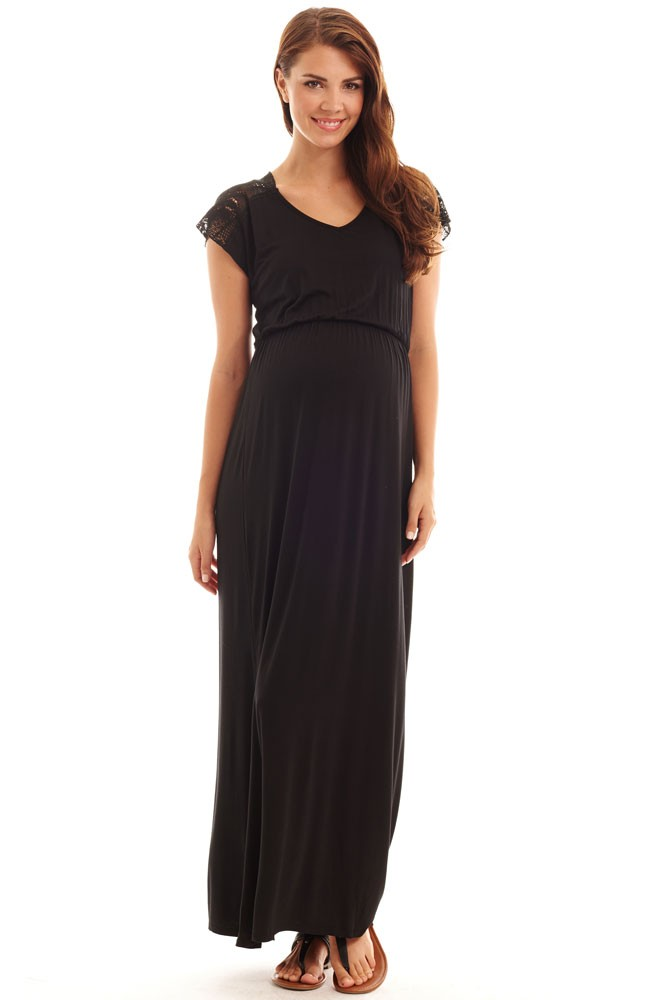 Margaret Maternity & Nursing Dress (Black)