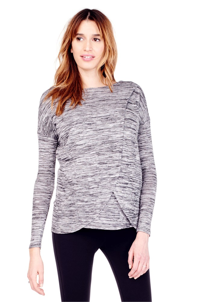 Ingrid & Isabel Long Sleeve Crossover Nursing Top (Black Spacedye)