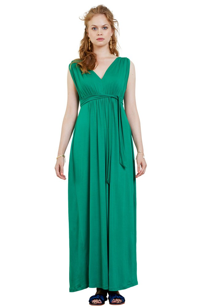 Lily Goddess Maxi Maternity & Nursing Dress (Malachite Green)