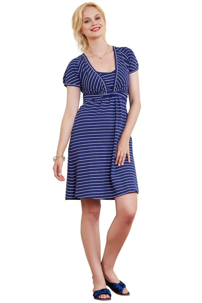 Charlotte Organic Cotton Slub Nursing Dress (Navy Stripe)