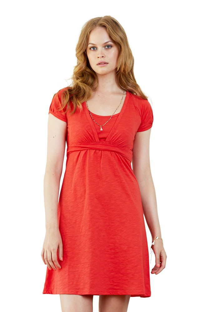 Charlotte Organic Cotton Slub Nursing Dress (Cayenne Red)