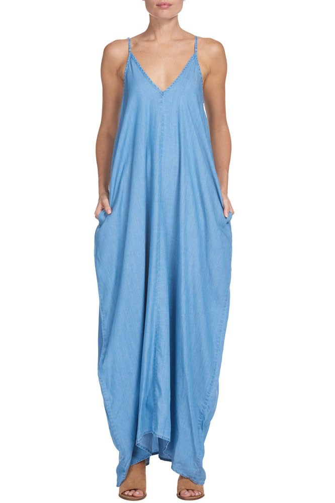 Celia Strappy Maxi Dress with Pockets (Denim)