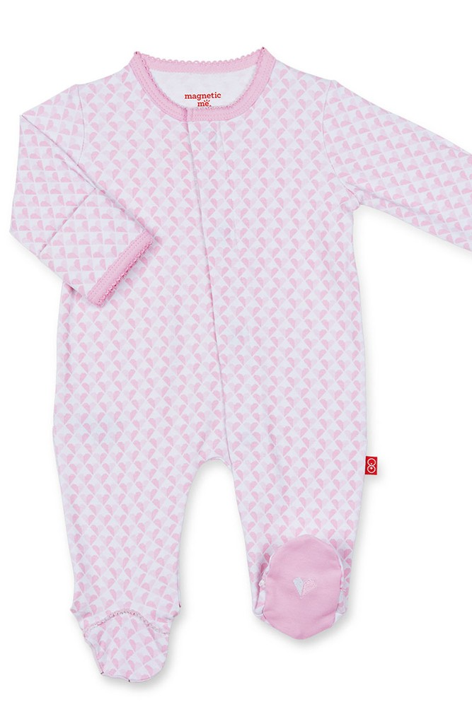 Magnificent Baby Magnetic Me™ Cotton Baby Girl Footie (All Heart)