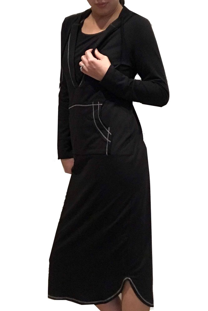 Lydia Long Sleeve Nursing Hoodie Lounge Dress (Black)