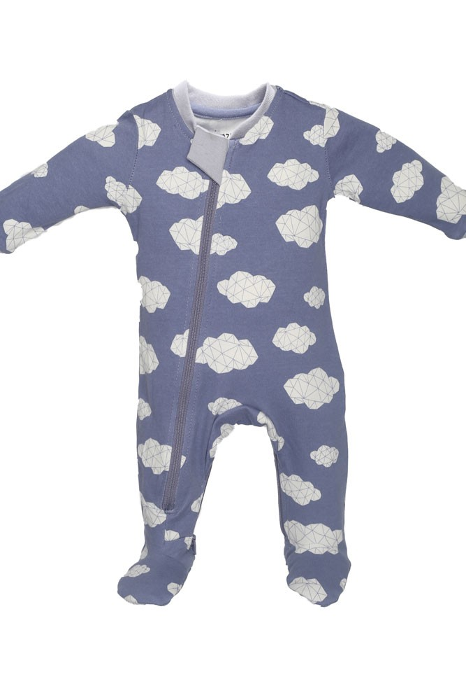 ZippyJamz Organic Baby Footed Sleeper Pajamas w. Inseam Zipper for Easy Changing (Sleepy Clouds)