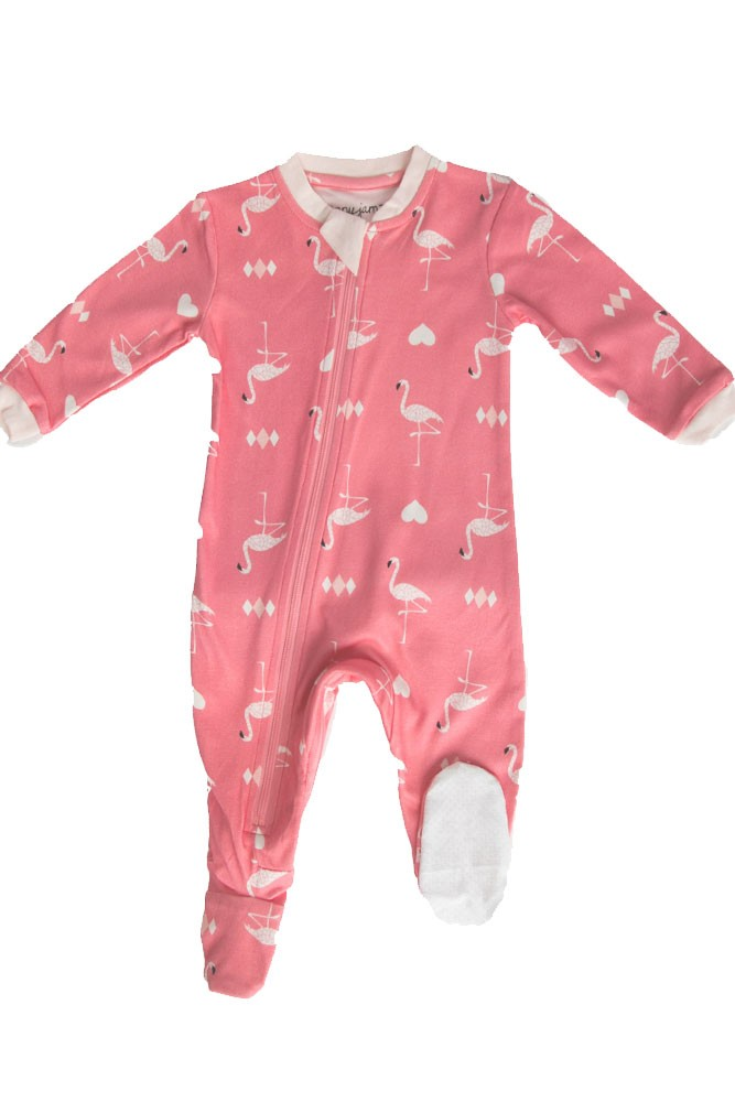ZippyJamz Organic Baby Footed Sleeper Pajamas w. Inseam Zipper for Easy Changing (Flippin Flamingos)
