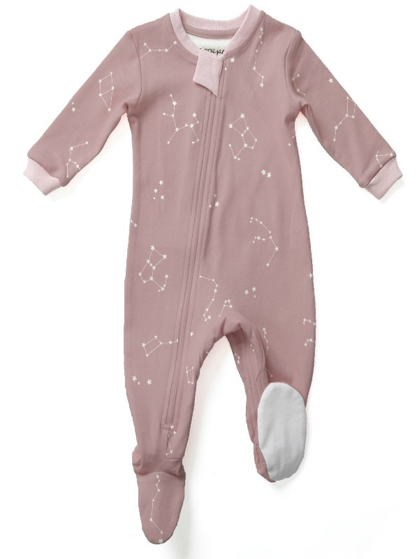 ZippyJamz Organic Baby Footed Sleeper Pajamas w. Inseam Zipper for Easy Changing (Galaxy Love Pink)
