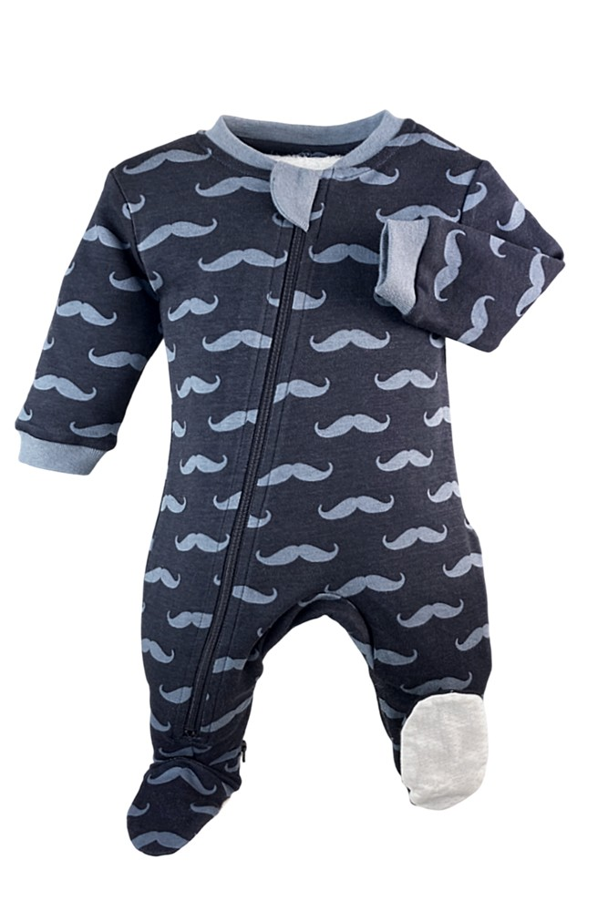 ZippyJamz Organic Baby Footed Sleeper Pajamas w. Inseam Zipper for Easy Changing (Mr Moustache)