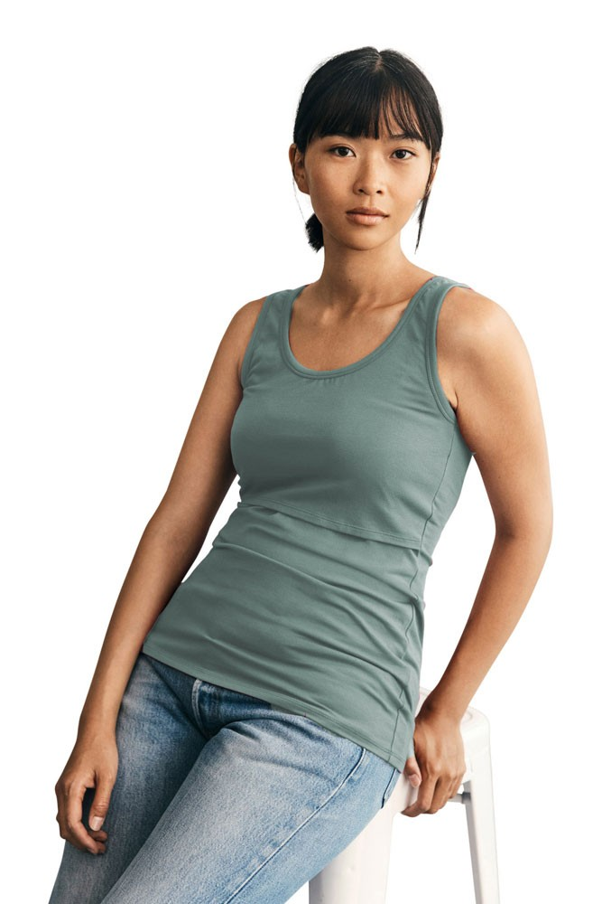 Boob Design Classic Organic Maternity & Nursing Tank with Full Back Coverage (Green Surf)