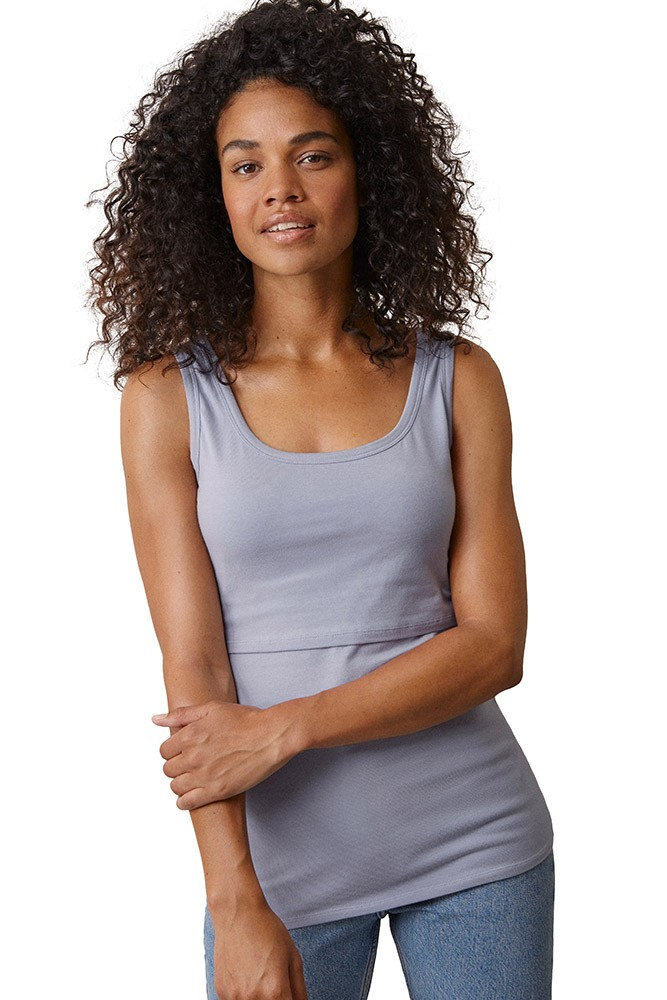 Boob Design Classic Organic Maternity & Nursing Tank with Full Back Coverage (Flax Flower)