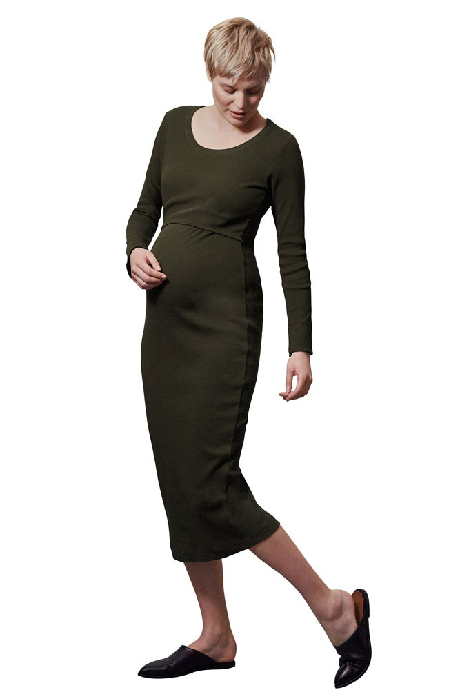 The Signe Ribbed Organic Cotton Maternity & Nursing Dress (Moss Green)