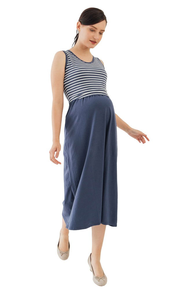 Alyssa Cotton Knit Maxi Nursing Dress (Navy Stripe)