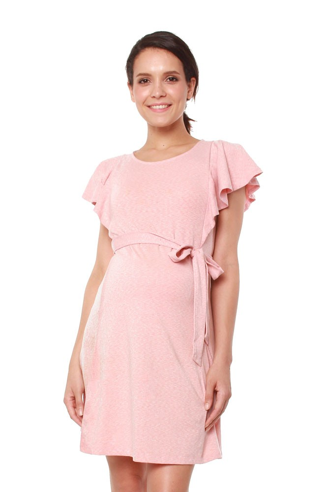 Britta Flutter Sleeve Nursing Dress (Pink Melange)