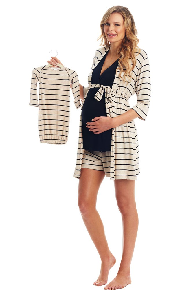 Adaline 5-Pc Nursing PJ Short Set with Baby Gown & Knotted Hat Set (Sand Stripe)