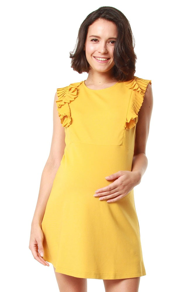 Evon Light Weight Ponte Maternity & Nursing Dress (Marigold)