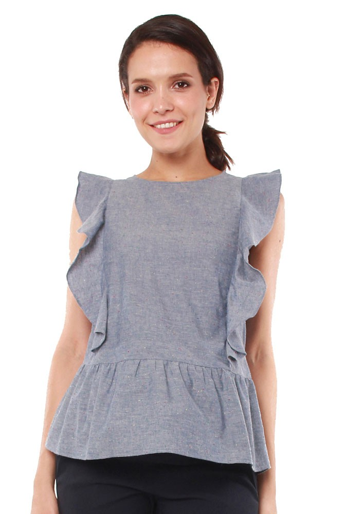 Daffodil Woven Ruffle Nursing Blouse (Denim Chambray)