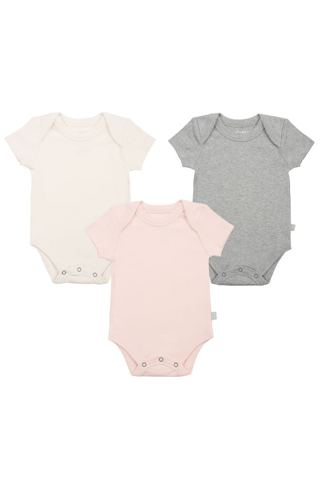 Finn + Emma Basics Organic Bodysuits - 3 Pack (Off-White, Grey & Pink)