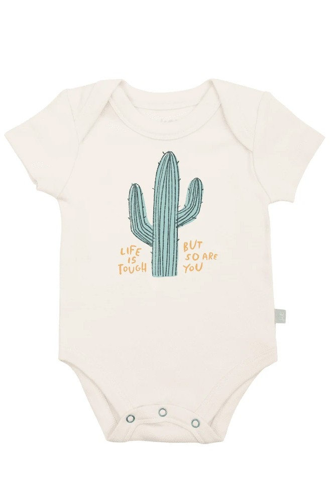 Finn + Emma Graphic Organic Bodysuit (Life is Tough)