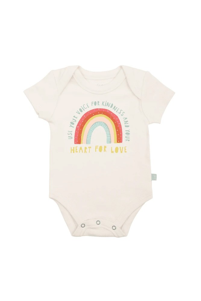Finn + Emma Graphic Organic Bodysuit (Kindness Rainbow)