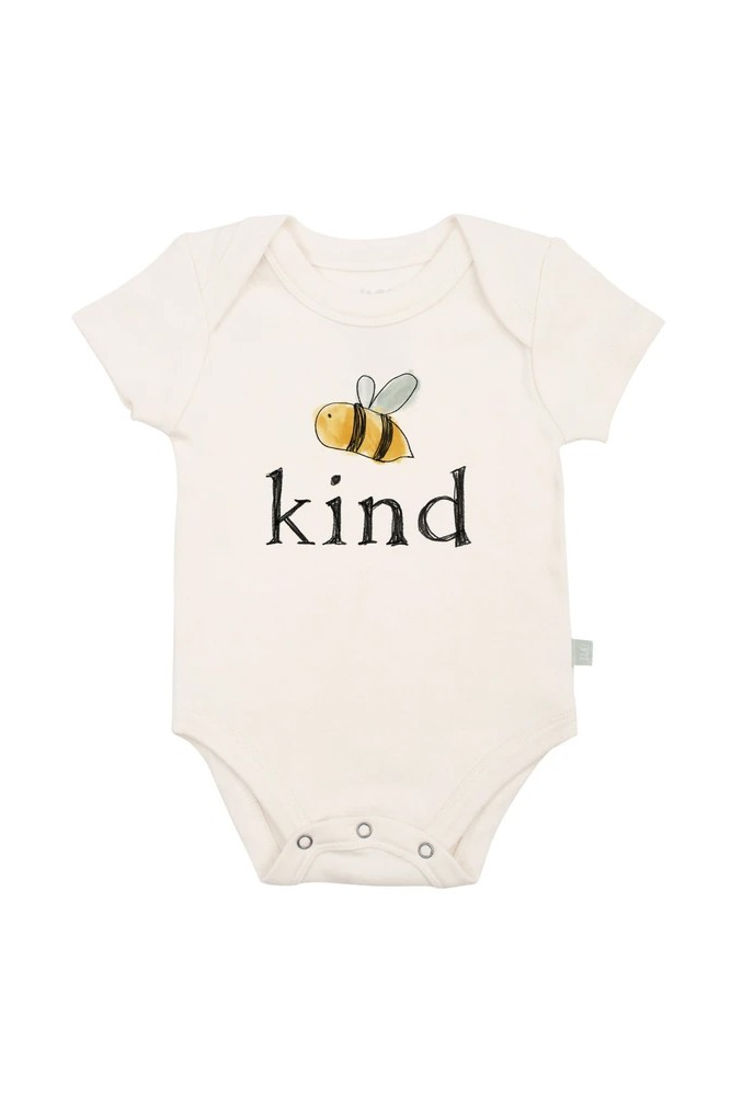 Finn + Emma Graphic Organic Bodysuit (Bee Kind)