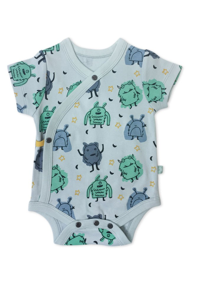 Finn + Emma Organic Short Sleeve Bodysuit (Monsters)