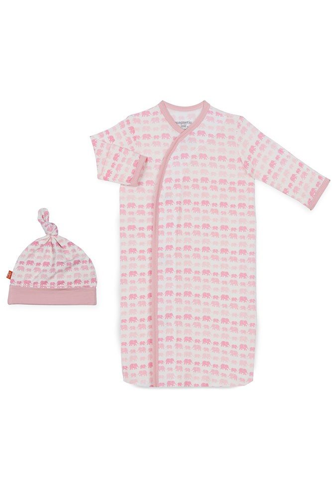 Magnificent Baby Magnetic Me™ Modal Dancing Elephants Baby Gown & Hat Set (Pink Dancing Elephants)
