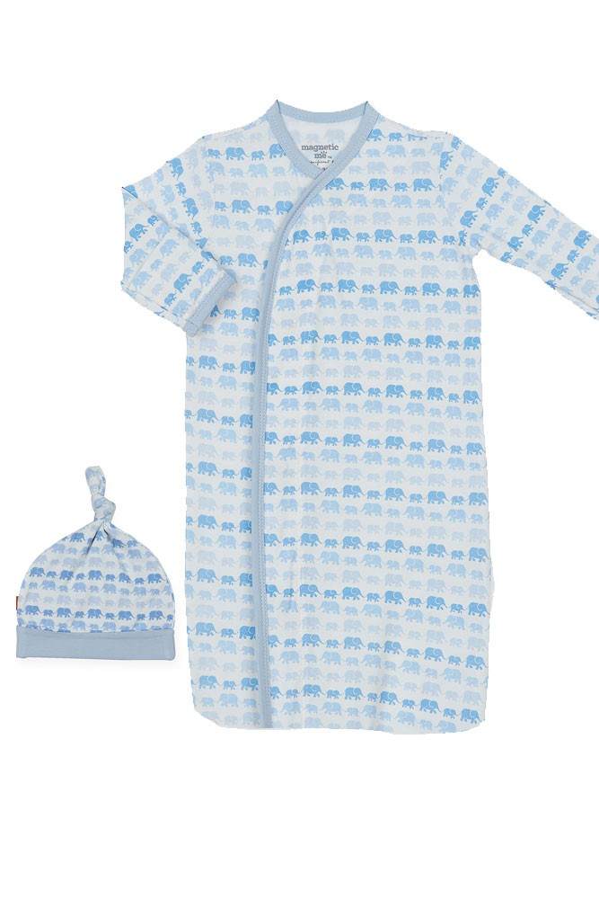 Magnetic Me™ Modal Magnetic Baby Gown & Hat Set (Blue Dancing Elephants)