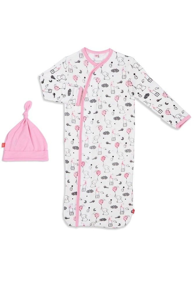 Magnetic Me™ by Magnificent Baby Modal Gown & Hat Set (Pink Skylark)