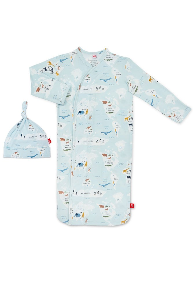 Magnetic Me™ Modal Magnetic Baby Gown & Hat Set (Sea the World)