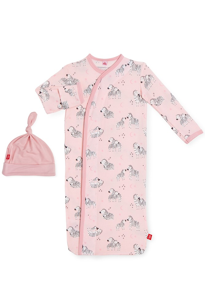 Magnetic Me™ Modal Magnetic Baby Gown & Hat Set (Pink Little Ones)