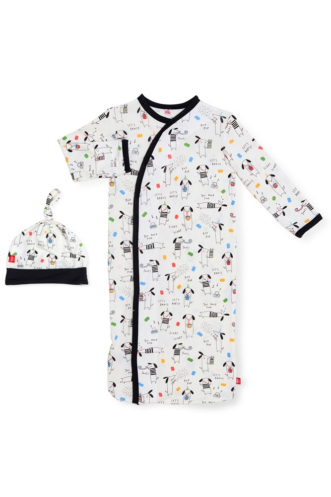 Magnetic Me™ Modal Magnetic Baby Gown & Hat Set (Raise the Woof)