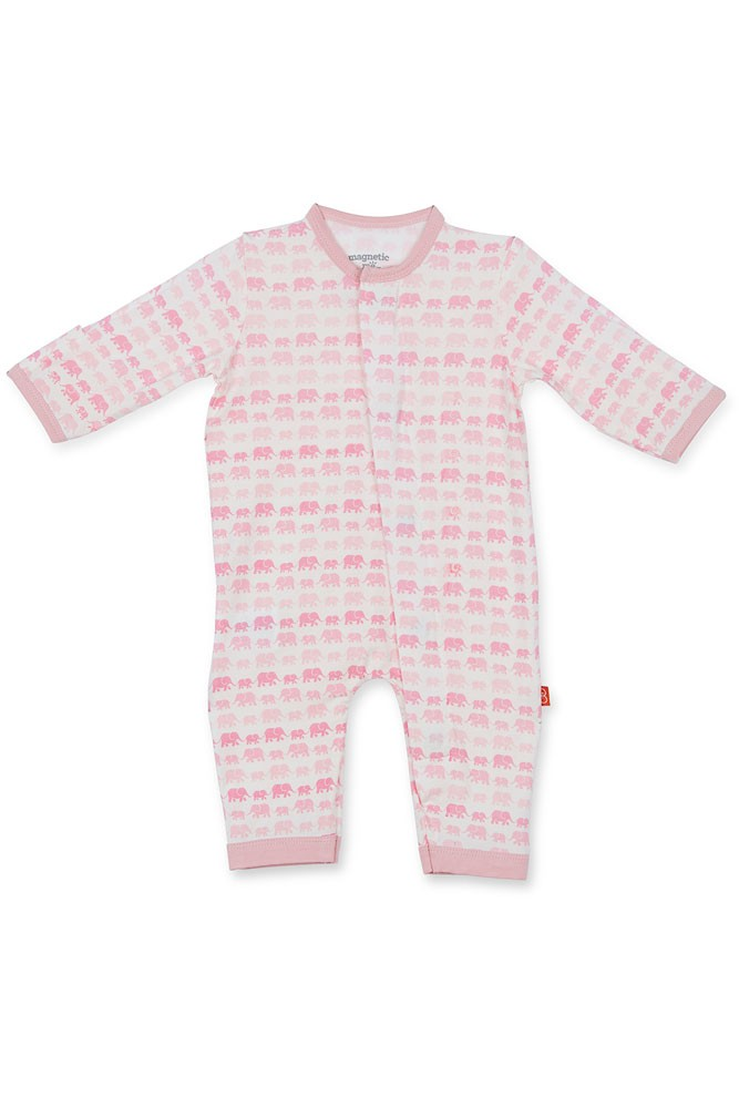 Magnetic Me™ by Magnificent Baby Modal Coveralls (Pink Dancing Elephants)