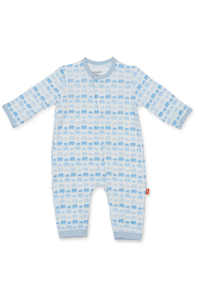 Magnetic Me™ by Magnificent Baby Modal Coveralls (Blue Dancing Elephants)