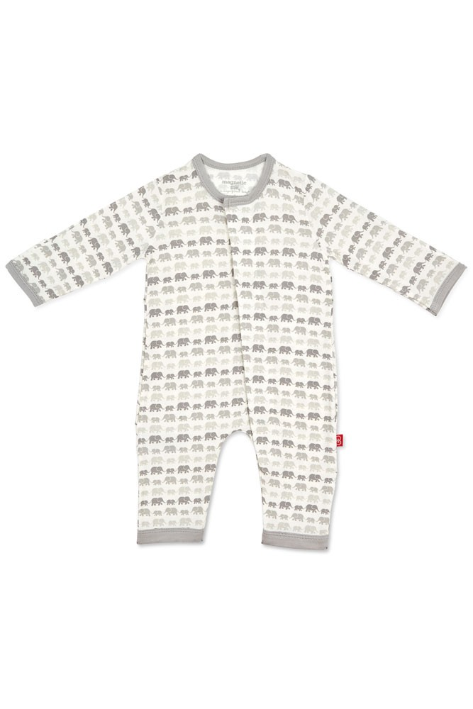 Magnetic Me™ Modal Magnetic Baby Coveralls (Grey Dancing Elephants)