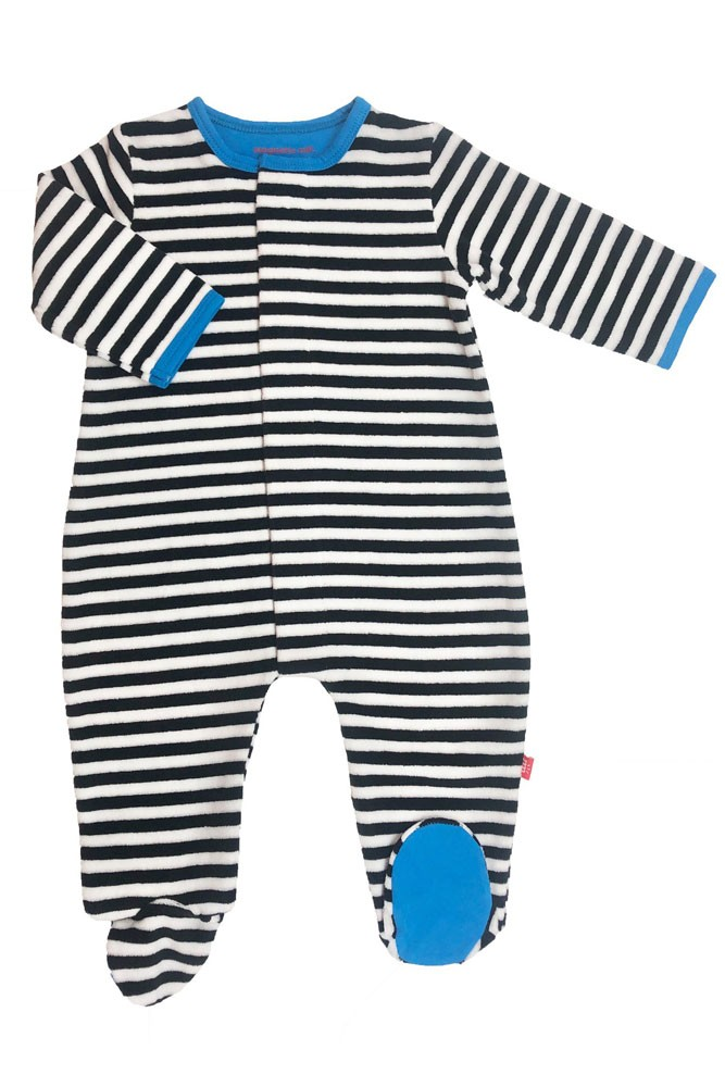 Magnetic Me™ by Magnificent Baby Velour Footie (Blue/Black/White Stripe)