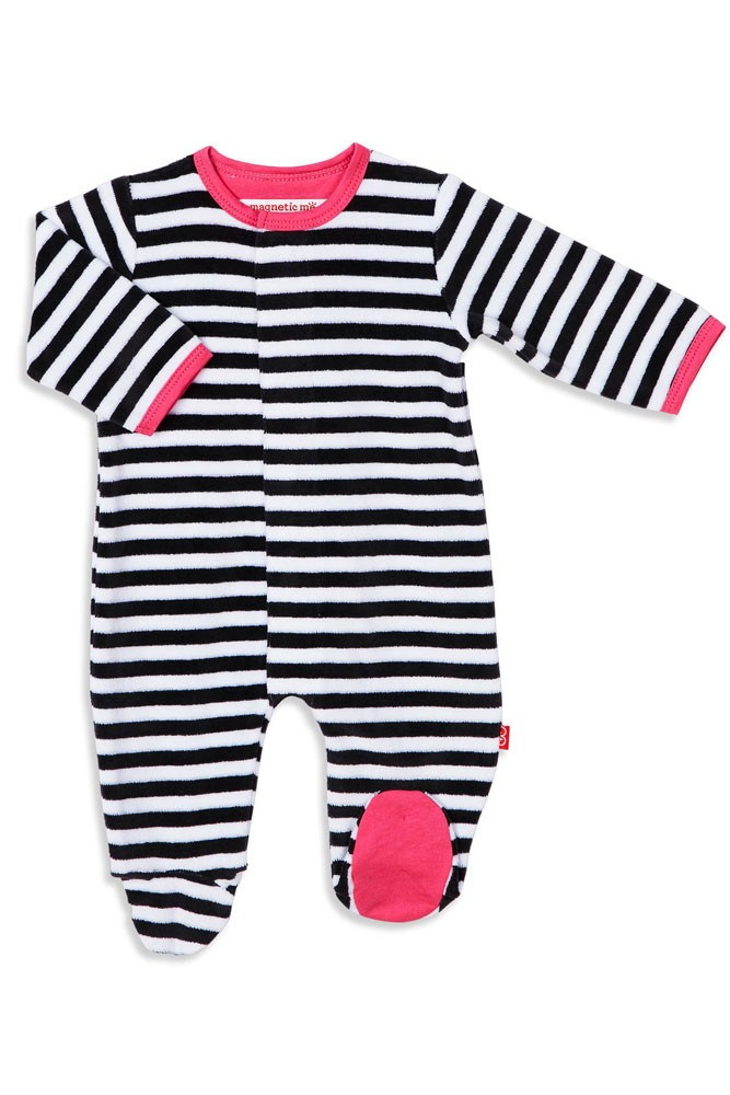 Magnetic Me™ by Magnificent Baby Velour Footie (Pink/Black/ White Stripe)