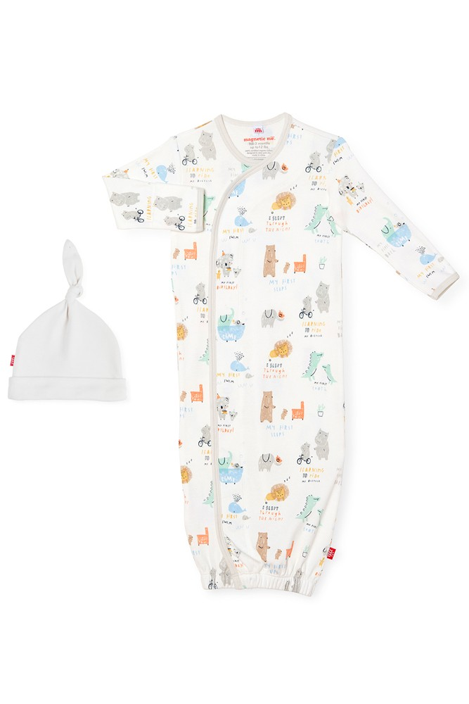 Magnetic Me™ 100% Organic Cotton Baby Gown & Hat Set (My Year of Firsts)